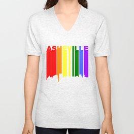 Asheville North Carolina Gay Pride Skyline Unisex V-Neck
