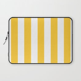 Sunglow yellow -  solid color - white vertical lines pattern Laptop Sleeve