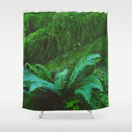 Mystical Green Fern Leaves in the Enchanted Forest Shower Curtain