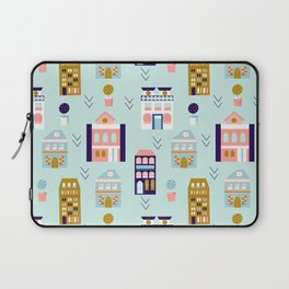 Lisabon colorful buildings in a seamless pattern design Laptop Sleeve
