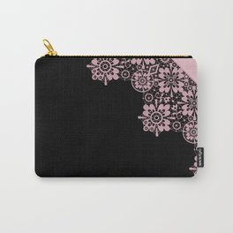 Pink lace on a black background . Carry-All Pouch