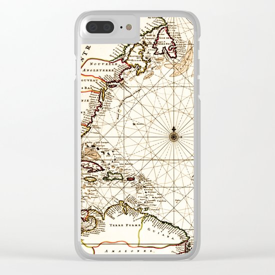 Vintage Atlantic Ocean Map Clear iPhone Case