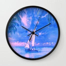 Tropical yachting Wall Clock