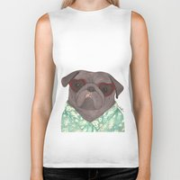 hawaiian Biker Tanks featuring Hawaiian Pug by Indi Maverick