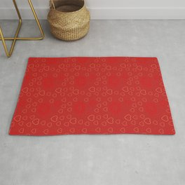 Bright ruby red fancy abstract love style pattern with fine golden hearts and bubbles Rug