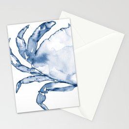 Coastal Crab in Watercolor, Navy Blue (Left Half in Set) Stationery Cards