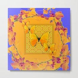 Golden Yellow Butterflies Orchid Sprays Purple Lilac Patterns Metal Print