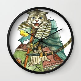 Samurai Cat with a Spear and 2 Swords Wall Clock