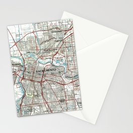 Sacramento California Map (1994) Stationery Cards