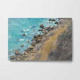 Aerial View Pacific Ocean Coastline Puerto Lopez Ecuador Metal Print