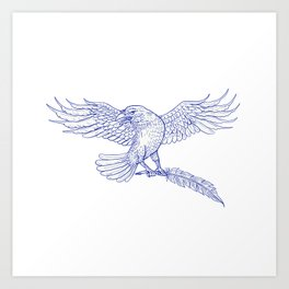 Raven Carrying Quill Drawing Art Print