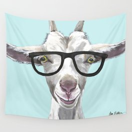 Goat with Glasses, Cute Farm Animal Wall Tapestry
