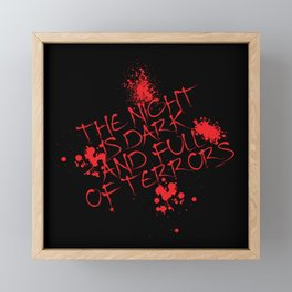 The night is dark is full of terror Framed Mini Art Print