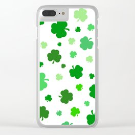 Green Shamrock Pattern Clear iPhone Case