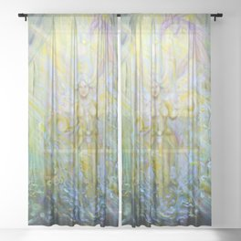 Magical Nebias forest original oil painting, Fairy tale forest painting, Fairies and dragon oil on c Sheer Curtain