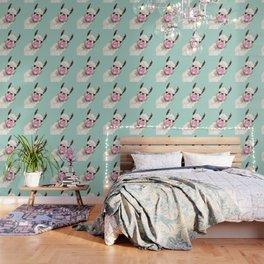 Bubble Gum Sneaky Llama in Green Wallpaper
