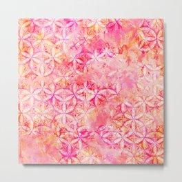 Flower-of-Life Paint Pattern Pink 2 Metal Print