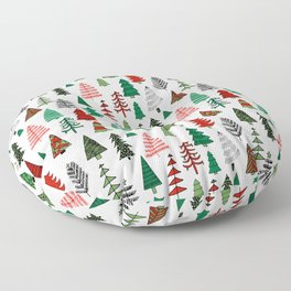 Christmas tree forest minimal scandi patterned holiday forest winter Floor Pillow