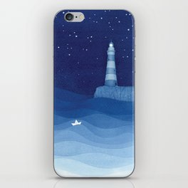 Lighthouse & the paper boat, blue ocean iPhone Skin
