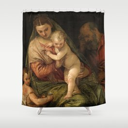 "Veronese (Paolo Caliari) ""The Holy Family with the Infant St. John the Baptist"" Shower Curtain"