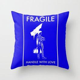 Fragile Blue Throw Pillow