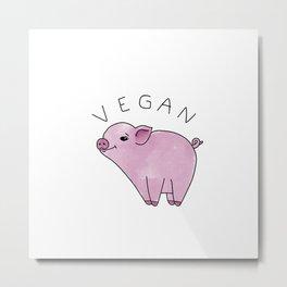 Vegan Pig Metal Print
