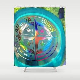 Disc Golf Boss Frisbee Blue Crystal Rainbow First Run Proto Shower Curtain