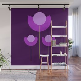 Abstract purple Tulips Wall Mural