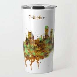 Boston watercolor skyline Travel Mug