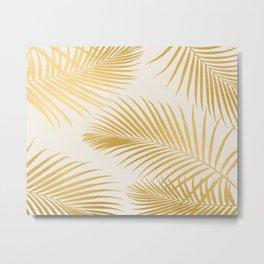 Metallic Gold Tropical Palm Fronds Metal Print
