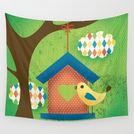 BIRD HOUSE Wall Tapestry