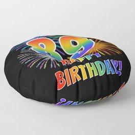 "89th Birthday ""89"" & ""HAPPY BIRTHDAY!"" w/ Rainbow Spectrum Colors + Fun Fireworks Inspired Pattern Floor Pillow"