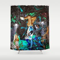skateboard Shower Curtains featuring skateboard street by  Agostino Lo Coco