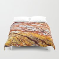 white marble Duvet Covers featuring Marble by Santo Sagese