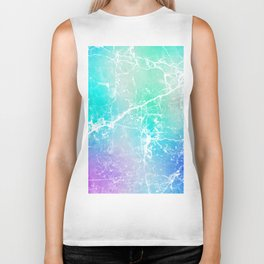 Modern turquoise purple watercolor abstract marble Biker Tank