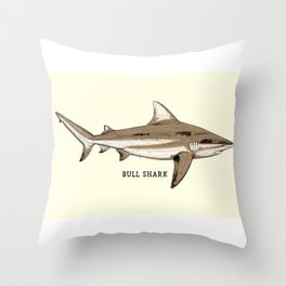 BULL SHARK Vintage Art Sketch for the Ocean Lovers Anglers and Fisherman Throw Pillow
