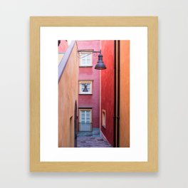 Colored yellow and red buildings, typical Mediterranean style Framed Art Print