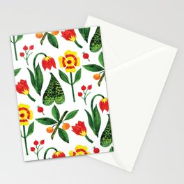 Yellow pink green watercolor tulips pansies pattern Stationery Cards