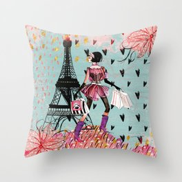 Fashion girl in Paris - Shopping at the EiffelTower Throw Pillow