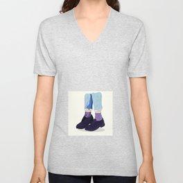 Blue Jeans Black Shoes Sketch Unisex V-Neck