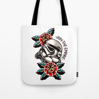 trooper Tote Bags featuring Trooper by dcyoungtattooer