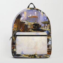 Elevated Subway at Chatham Square New York City landscape painting by Colin Campbell Cooper  Backpack