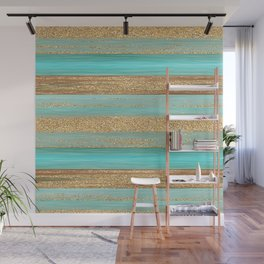 Turquoise Brown Faux Gold Glitter Stripes Pattern Wall Mural