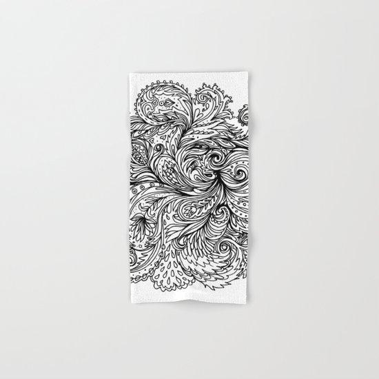 B&W Floral Indian Pattern Hand & Bath Towel