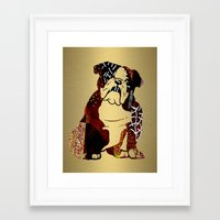 english bulldog Framed Art Prints featuring English Bulldog by marvinblaine