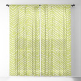 Chartreuse hand drawn pattern Sheer Curtain