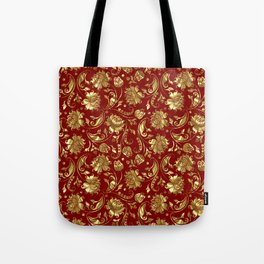 Dark Red & Gold Floral Damasks Pattern Tote Bag