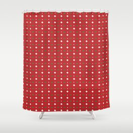 Christmas vector green and white horizontal and vertical stitches aligned on red background seamless Shower Curtain