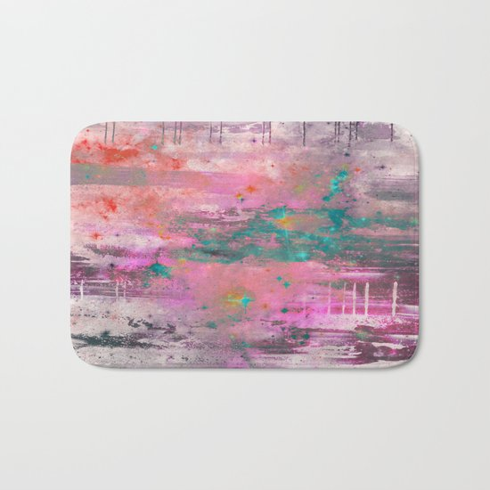 Mystical! - Abstract, pink, purple, red, blue, black and white painting Bath Mat