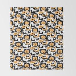 Beware of the Cat -Pattern Throw Blanket